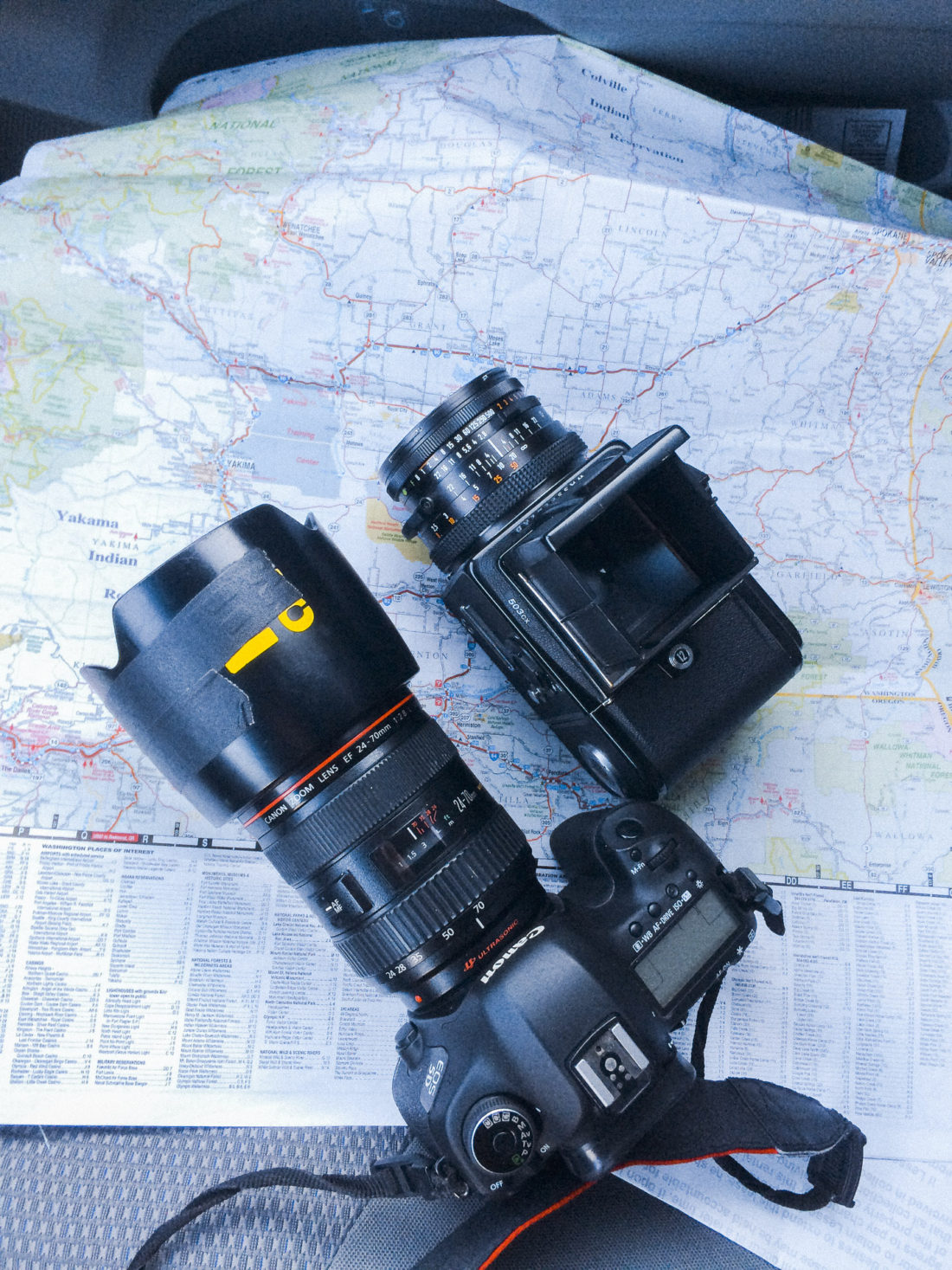 Gear List: Canon 5D MKIII, Hasseblad 503cx, Map.