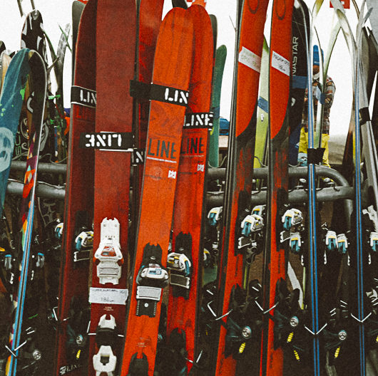 "A quiver of skis at Powder Magazine's ""Powder Week"" in Jackson Hole, Wyoming"